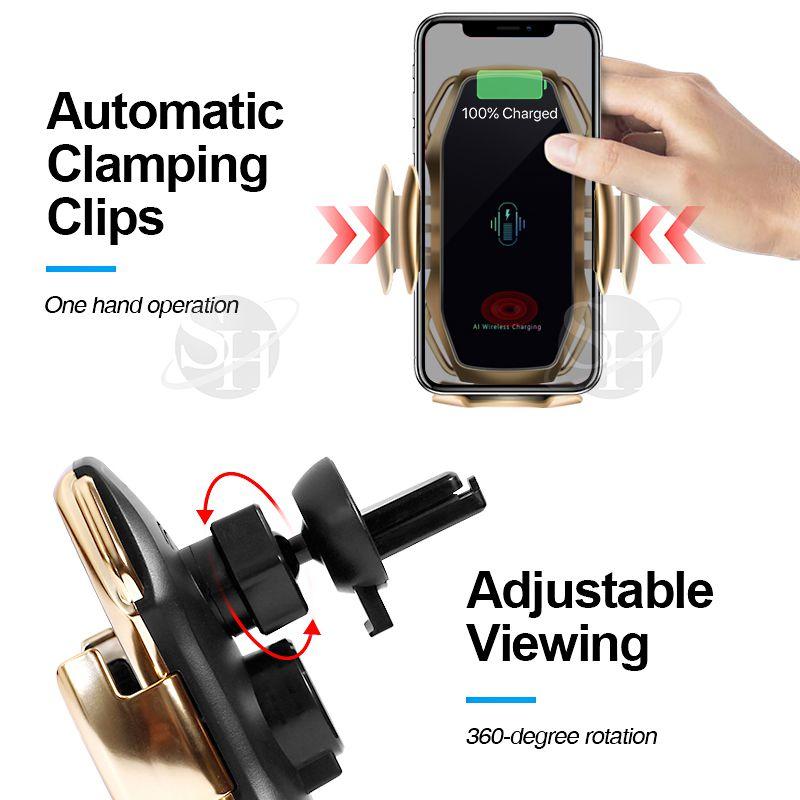 स्मार्ट सेंसर R1 वायरलेस कार चार्जर फोन धारक खड़े हो जाओ सेलफोन चार्ज