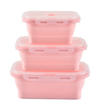 3 Portable Food Grade Square Collapsible Bento Folding Silicone Food Storage Containers Lunch Bento Box Set Kids Lunch Box