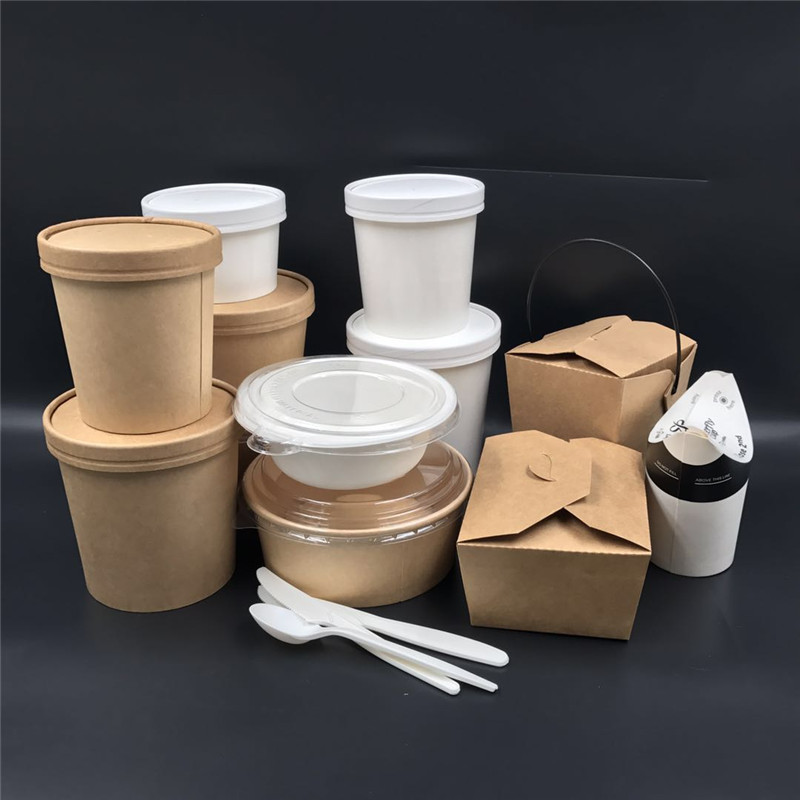 2019 newest compostable packaging 16oz takeaway kraft paper cup biodegradable disposable soup container for hot food