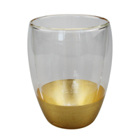 Nordic Modern Glass Cup Whiskey Glass Home Drinking Utensils 11oz Golden Colored Double Layer Borosilicate Drinking Glass