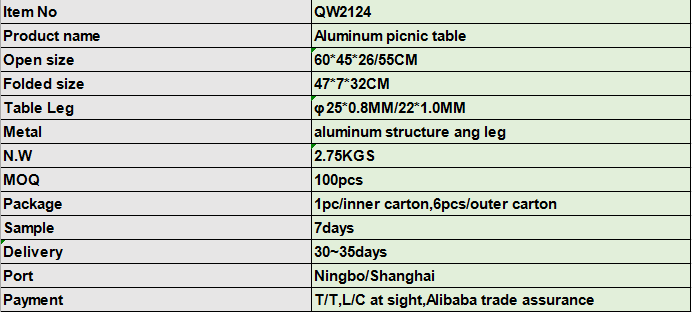 China small lightweight cheap briefcase portable aluminum outdoor picnic folding camping table