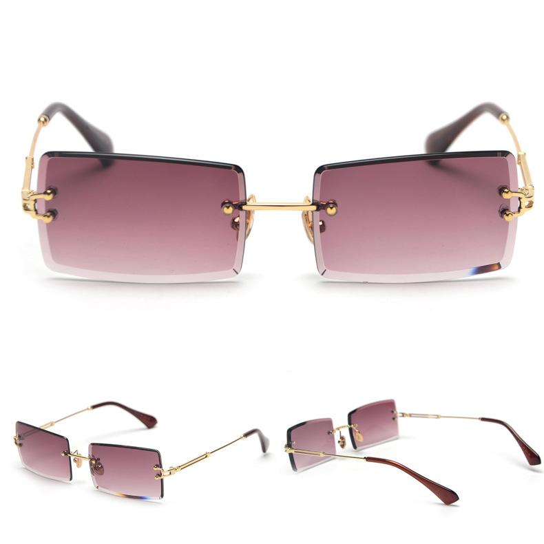 Custom Gradient Ladies Small Square Vintage Rectangular Women Eyewear Sun Shades Glasses Rimless Rectangle Sunglasses 2021, Oem lens color