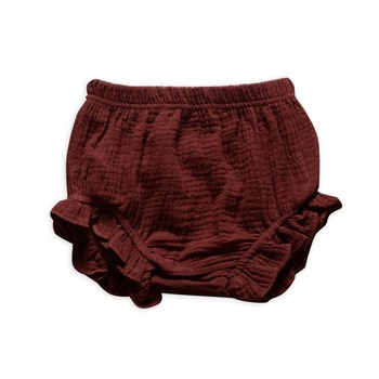 Children Boutique Clothes Woven Muslin Fabric Solid Brown Double Gauze Ruffle Baby Bloomers