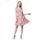 Summer sashes dress pink pleated sleeveless dress new style lady striped silk dress