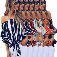 2020 Spring Summer Women Casual Black Off The Shoulder Vertical Stripes Blouse
