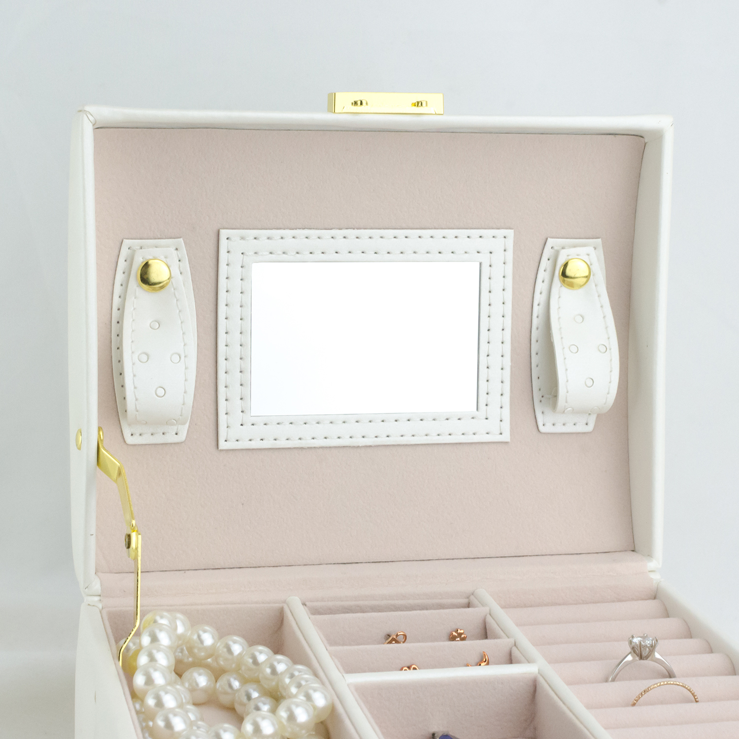 Wholesale Portable Handle Locking Drawer Jewelry Organizer Mirrored Custom Jewelries Boxes