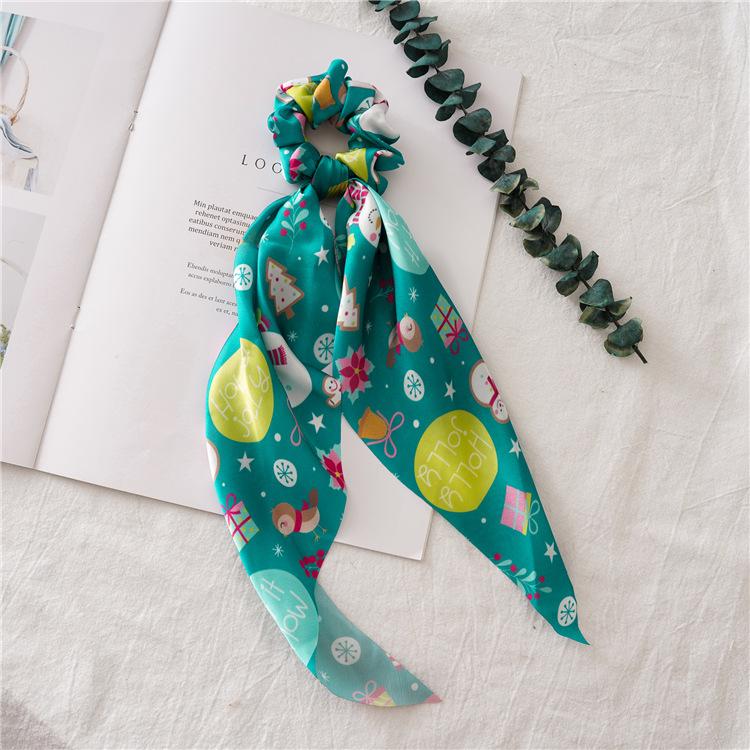 CLARMER Fashion Elastic Women Hiar Tie Hair Accessories Ponytail Holders Snowman Christmas Scarf Scrunchies