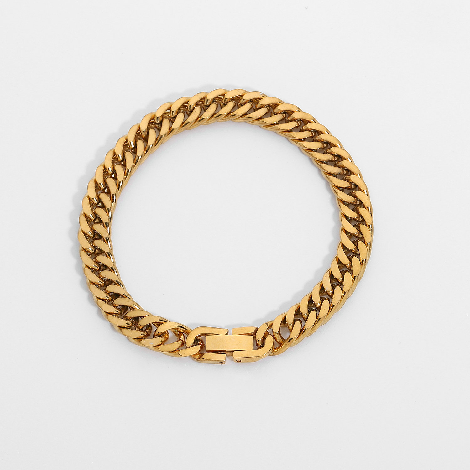 7.3mm Chunky gold Cuban Chain bracelet for women 18K Gold Plated Stainless Steel Miami Link Chain Bracelet