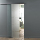 Aluminium 4.9FT/6FT/6.6FT Aluminium Alloy Frameless Brushed Glass Shower Sliding Barn Door Hardware Hidden Track Kit