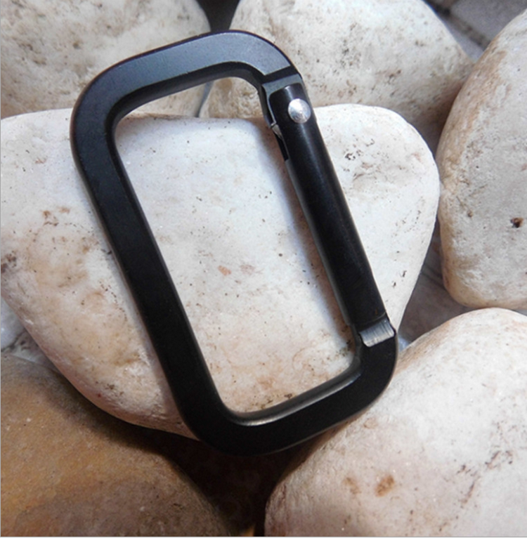 Custom square aluminum clip keychain rectangle carabiner with strap