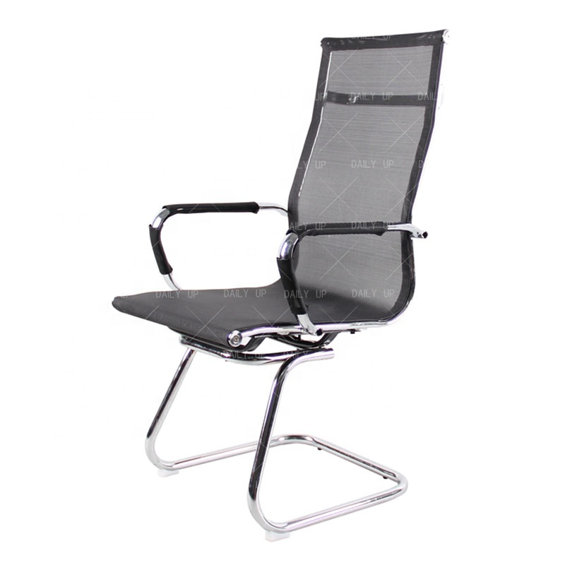 Office Chair Mesh Executive Computer Desk Seat Armchair Fabric Chrome No Wheel