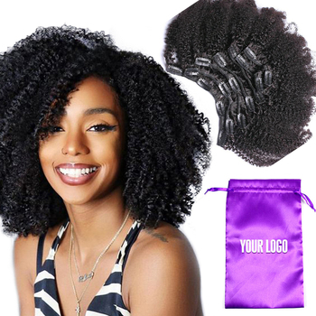 Mongolian human clip in hair extension for black women,4b 4c afro kinky curly coily human clip in hair extensions 100% remy hair
