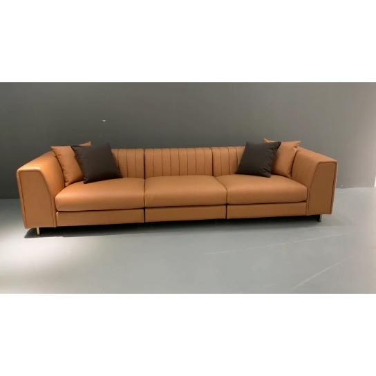 Hotel muebles de Metal Base marrón salón sofá de 3 plazas de cuero sofá tapizado