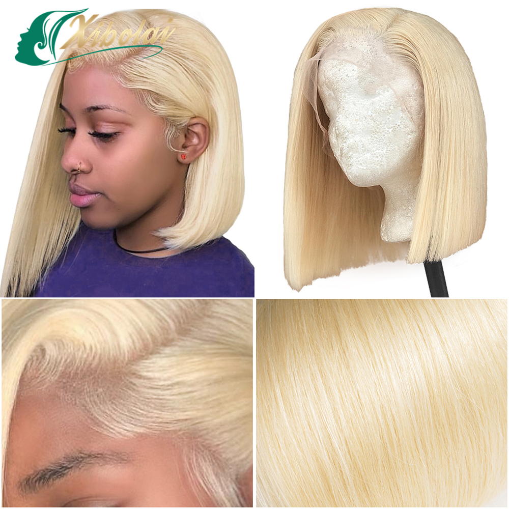 JcXBL Ombre 1b/613 Blonde Bob Lace Front Wig,Raw Virgin Brazilian Straight 100% Human Hair Lace Wigs For Black Women