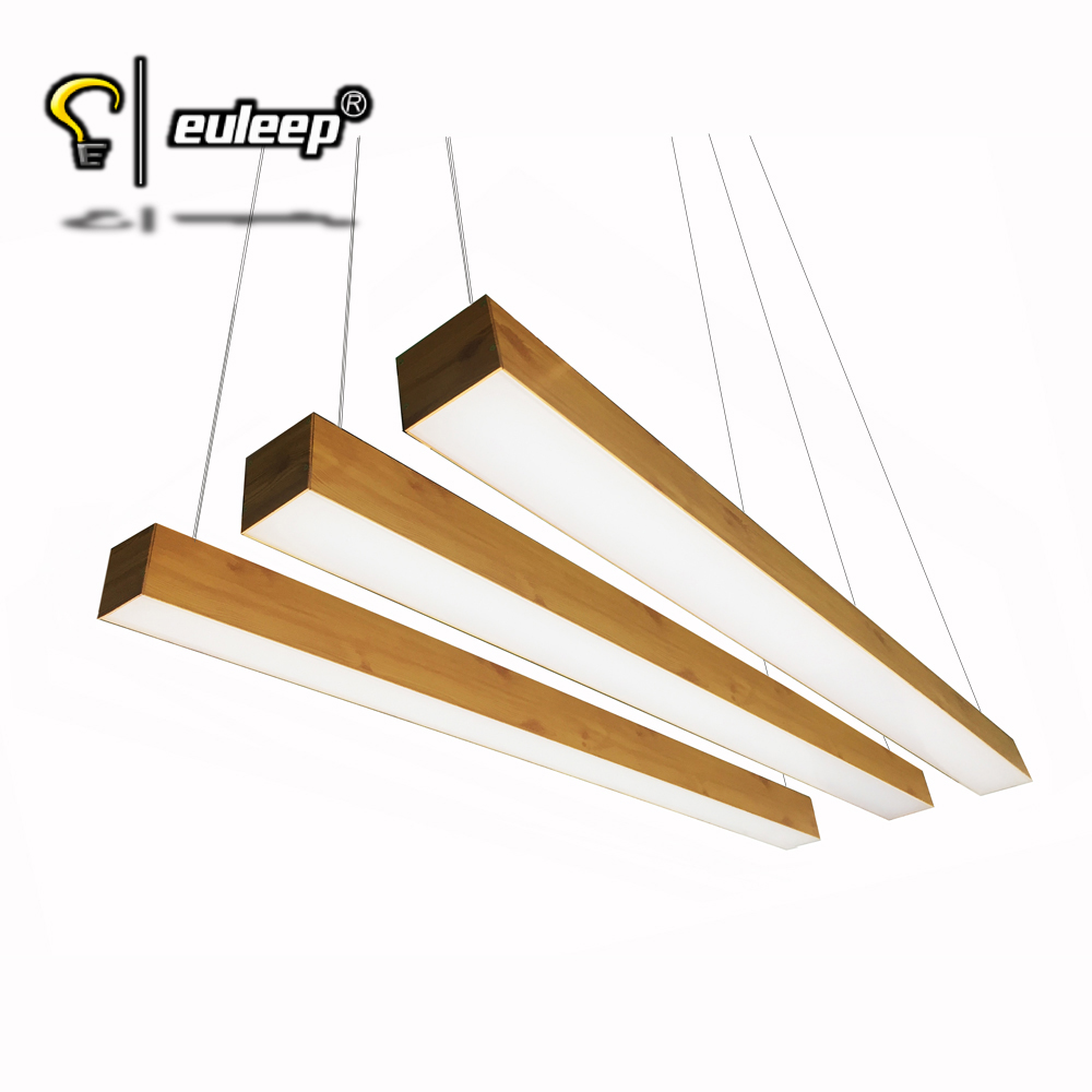 woodgrain chandeliers linear led Light 4 ft 40W use for workplace, home decor light, restaurant, shop, office light