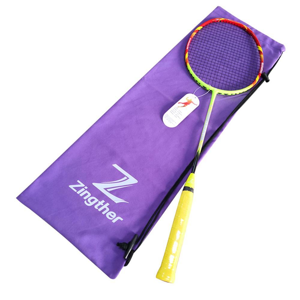 Zingther Professionele Carbon Graphite Racket met Hoge Kwaliteit Zwart String (26LB Prestrung, Single)