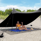 Deluxe XL Easy Up 4 Person Beach Tent Sun Shelter - Extended Zippered Porch Included