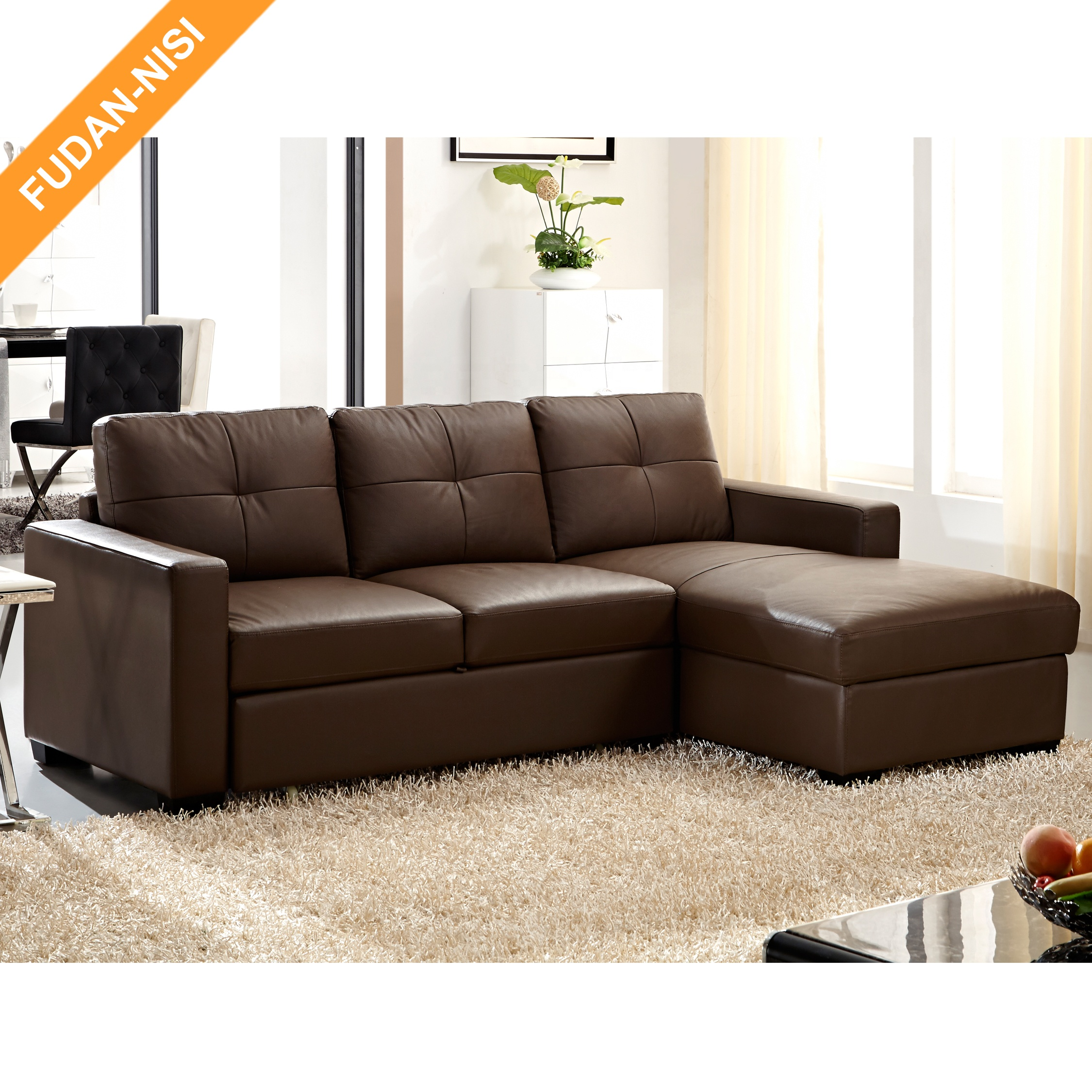 L Shape Small Sofa Bed With Storage Chaise