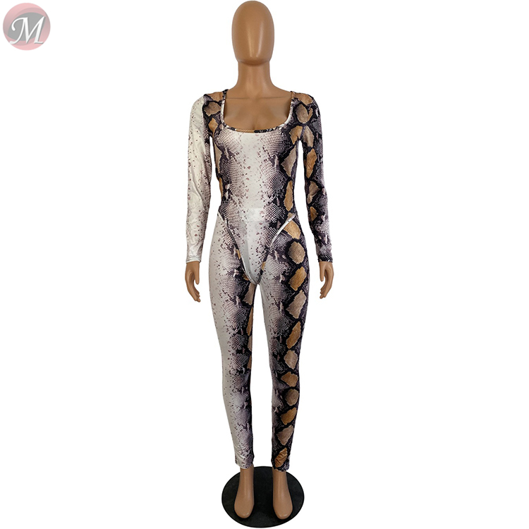 9120305 lowest price snakeskin print long sleeve square neck bodysuit jumpsuit two piece Autumn Clothes Women Pant Sets