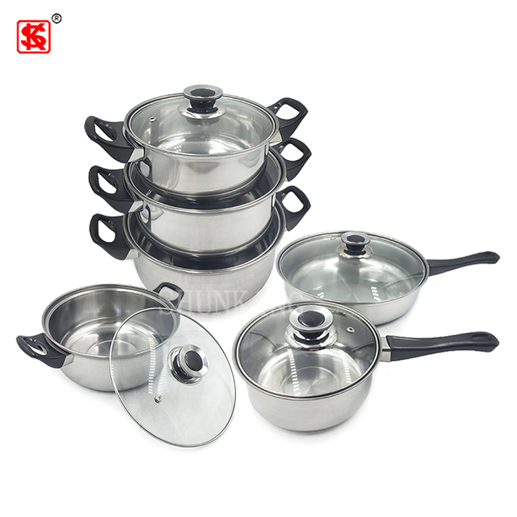Cookware set stainless steel 12pcs stock pot with glass lid for cooking