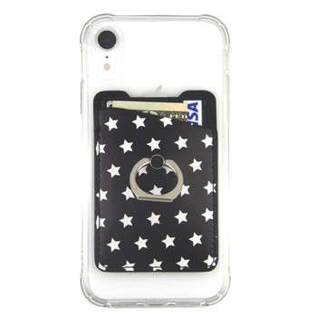 Phone Card Holder Sleeves with Ring - Sticker on Phone Credit Card Wallet Pockets PU Leather Card Holder with 3M Adhesive