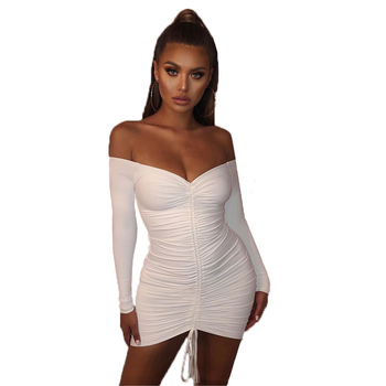Wholesale 2 Layers Autumn Dress Women 2020 Off Shoulder Winter White Ruched Bodycon Dress Woman Party Night Club Sexy Dress