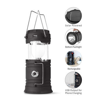 Portable LED Solar Powered Emergency Lantern Light Outdoor Rechargeable Solar Lantern For Camping