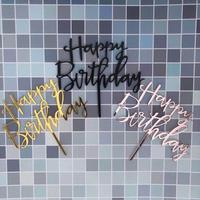 Happy Birthday Acrylic Cake Topper Gold Silver for Boy or girl Birthday Party Wedding Supplies