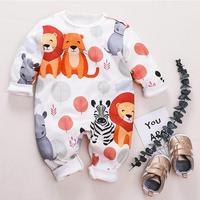 2019 Autumn Toddler Infant cotton jumpsuit Baby Boys Girls Cartoon Lion Print Romper Jumpsuit Outfits Casual wear