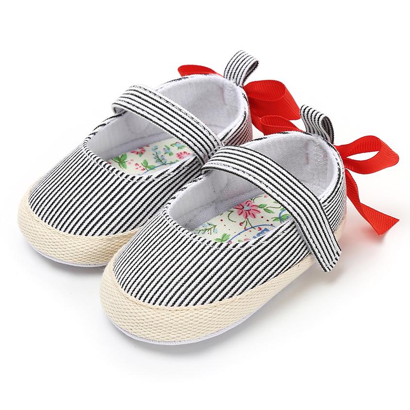Lovely Cotton fabric Striped print Silk ribbon Princess dress girl toddler shoes
