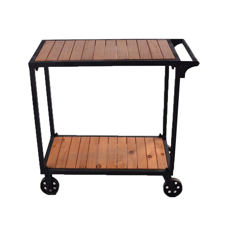 Metal pinewood wooden bar dining serving trolley cart