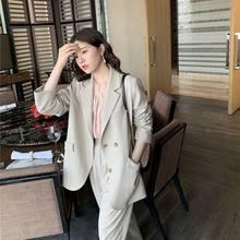 Женский деловой костюм со штанами, весна-осень 2020, Женский винтажный пиджак + брюки с высокой талией, офисный комплект из 2 предметов, Mujer L506(Китай)