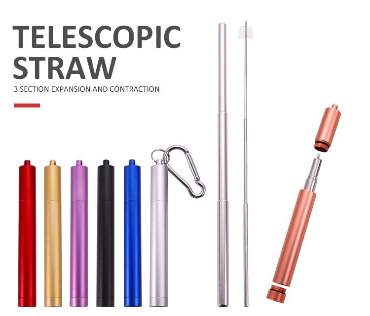 Wholesale Custom Logo Stainless Steel Metal Reusable Drinking Telescopic Straw