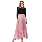 Slanna manufactured summer high waist muslims reflective A line long maxi pleated skirt for ladies