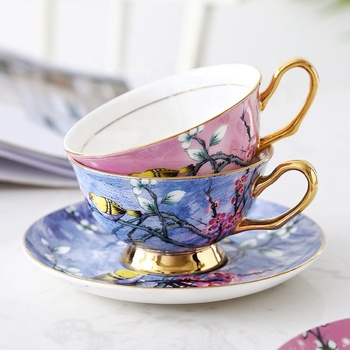 Spring series colorful royal bulk new bone china modern tea cups and saucer with gold handle