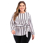 Wholesale Tops for Girls Plus Size Women Clothing Long Sleeve Sashes Striped Shirts for Womens Blouses