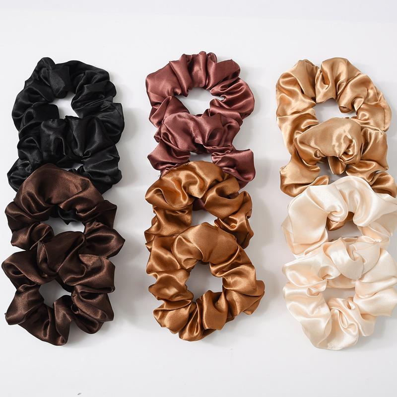 Сплошной цвет 100% шелк тутового галстук волос шелковые резинки для хвостики Топ узлы косы