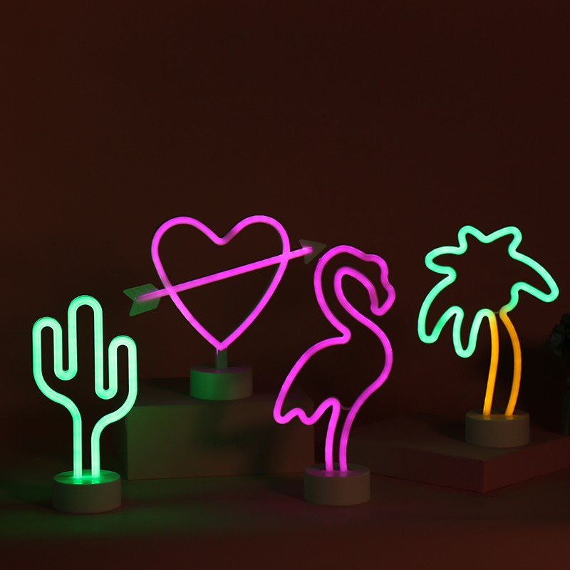 romantic Coconut Palm Tree Neon Signs Lamp LED Neon Light with Holder Base neon lights sign night light projector for kids room