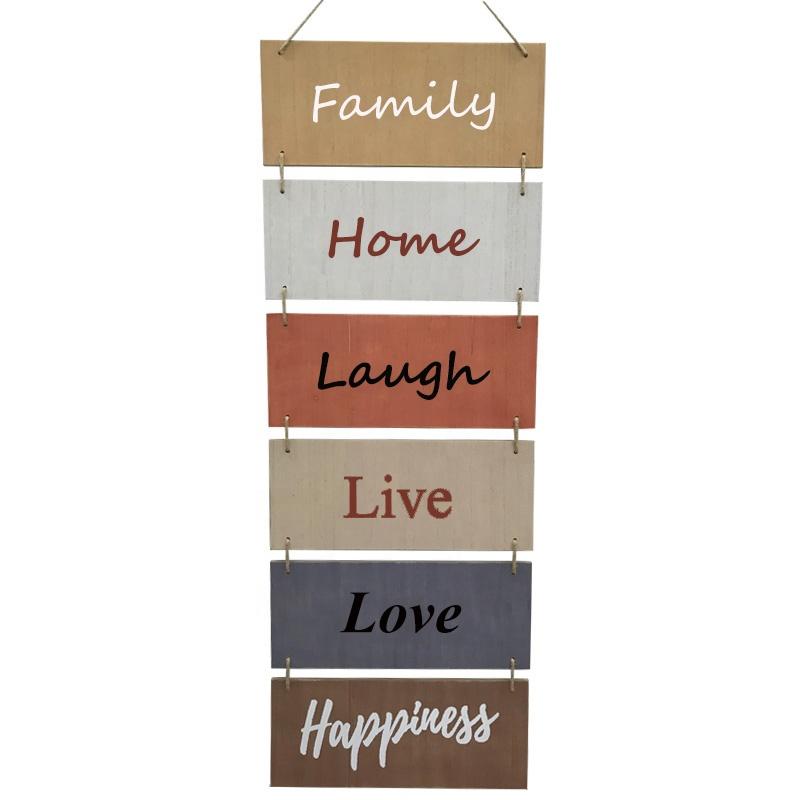 شنقا علامات جدار ريفي الخشبية الديكور (الصفحة الرئيسية ، الأسرة ، الحب ، الضحك ، لايف ، السعادة) شنقا الخشب الجدار الديكور