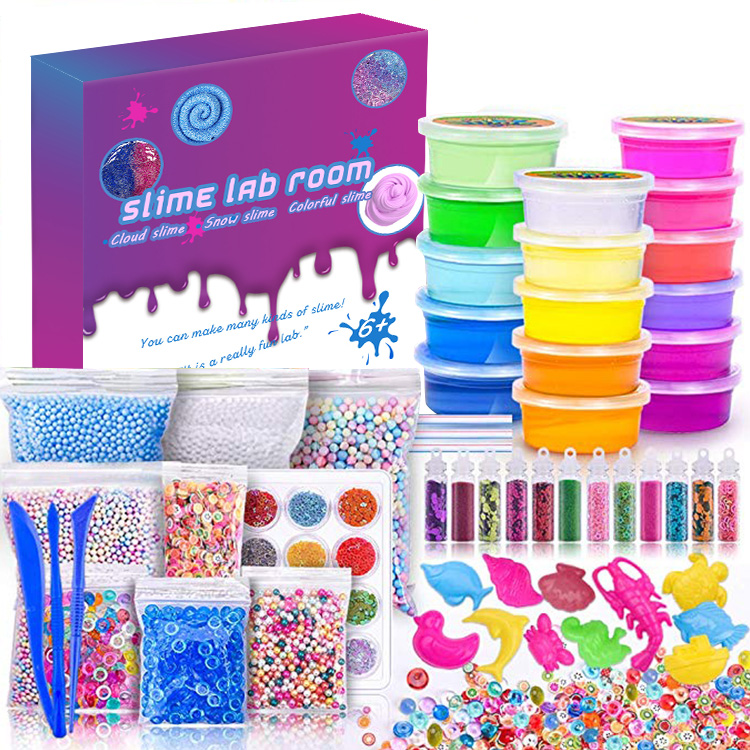 Amazon Hot Sale Educational Kit Slime Making Kit Charms Glitter Accessories Toy Crystal Clear DIY Slime Kit for Kids