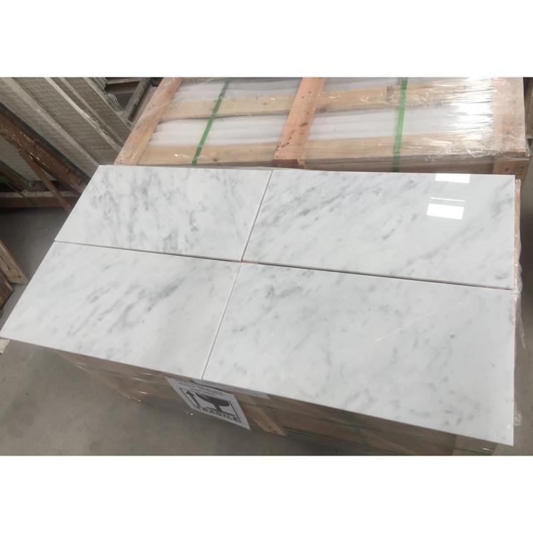 Carrara White Polished Marble Flooring Tile Natural Bianco