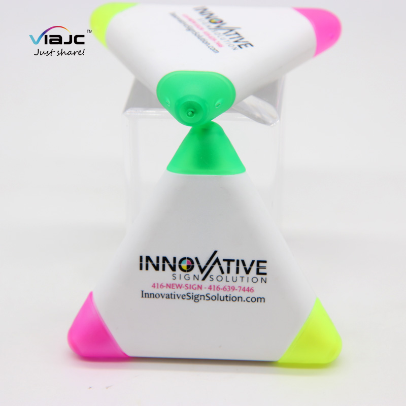 promotional gifts  highlighter markers Triple Triangle Multi Colour Highlighter Pens 3 in 1 Highlighter