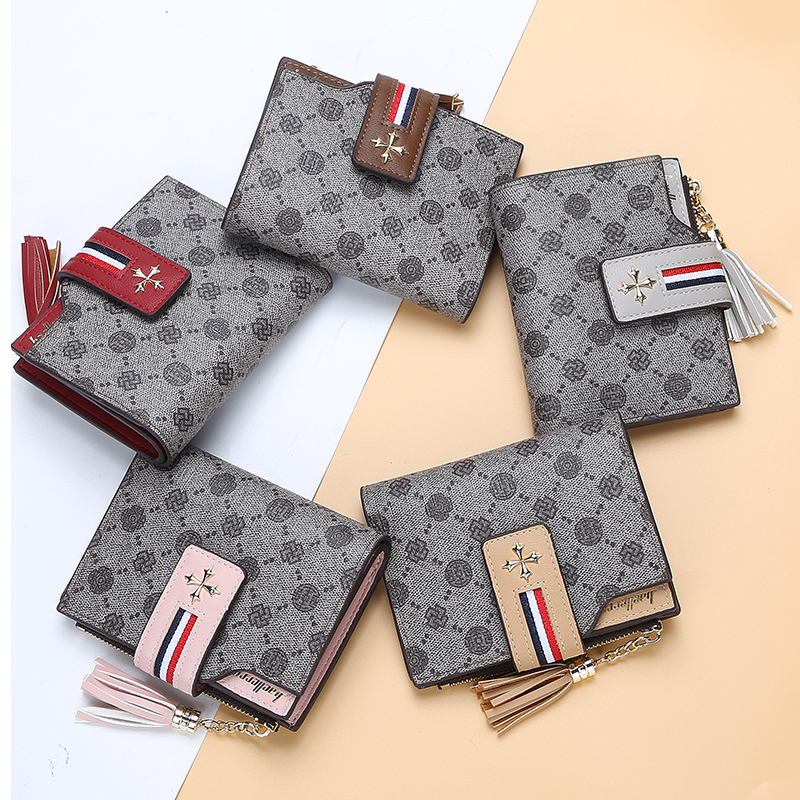 2019 Baellerry New Style Classic Pattern Short Section Wallet For Women With Hasp And Tassel,Lady Coin Purse