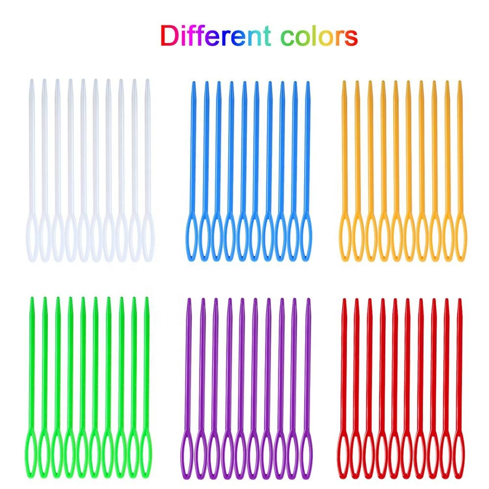 1000Pcs 5/7/9/15CM Colorful Plastic Large Eye Needle Hand Embroidery Needles Sewing Needles