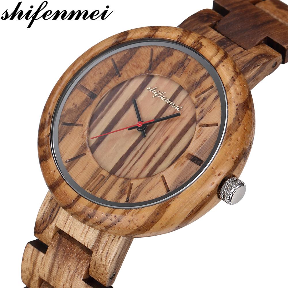 Shifenmei 우드 쿼츠 숙녀 나무 패션 손목 시계 여성 손목 시계 여성 패션 시계