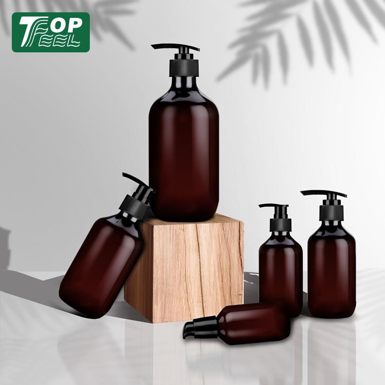Custom PET Kunststoff Kosmetische Flaschen Verpackung Bernstein Kunststoff Lotion Flasche 200ml 500ml Shampoo Flasche mit Pumpe