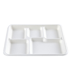 Biodegradable Sugarcane Bagasse School Lunch Tray 5 Compartments Tray