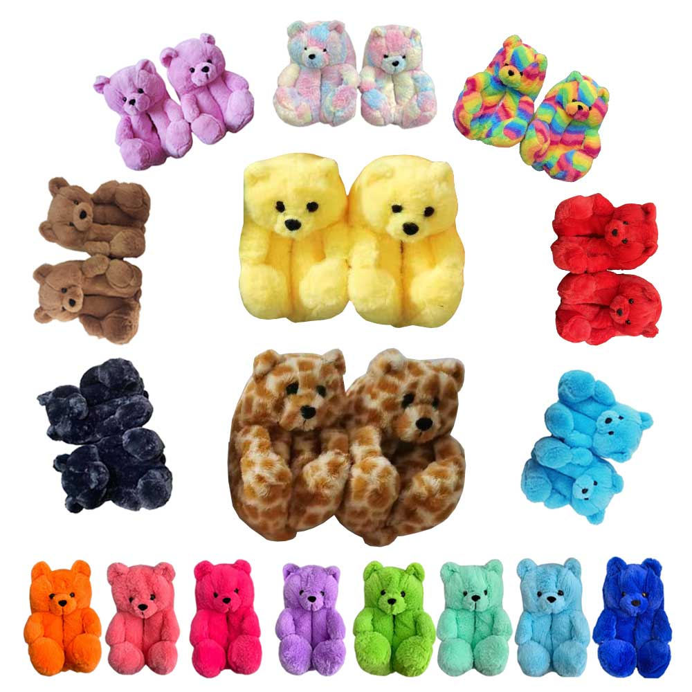 Drop Shipping 21 Colors Kids Fur Slides  Mommy And Me Furry Bear Shoes Plush House Teddy Bear Slippers Fluffy Slippers, As picture show or customized