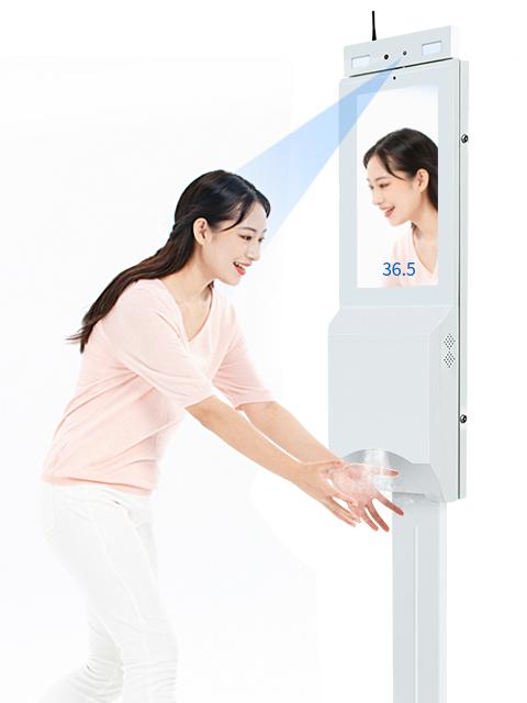 Temperatura de quiosco de publicidad Digital Signage reproductor de mano dispensador desinfectante con Sensor de temperatura