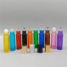 Factory Price 10ml Frosted Colored Gemstone Roller Glass Bottle With Gemstone Roll On Head For Essential Oil